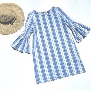 Lord Taylor Blue White Striped Dress Midi Large